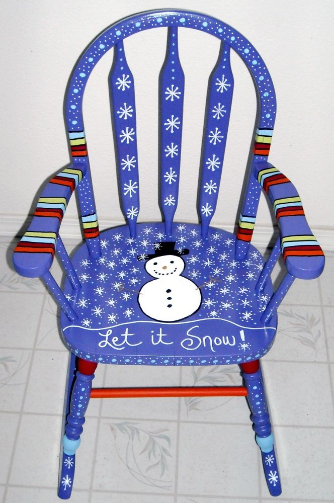 Painted Chair  by Carrie Butler arms let it snow blue