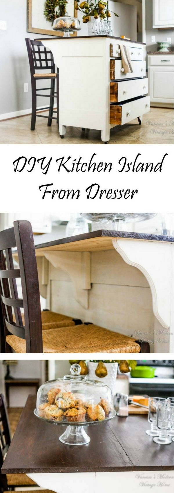 Check out the tutorial on how to build a DIY kitchen island from a dresser @istandarddesign