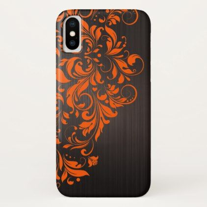 Brown Metallic Brushed Aluminum & Orange Lace iPhone X Case - brushed metal gifts cool unique special gift idea