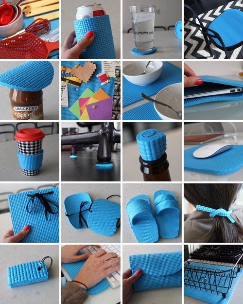 20 Creative Ways To Repurpose Old Yoga Mats (Follow Gaiam for more yoga, fitness, nutrition, detox, and green living tips: pinterest.com/gaiam)