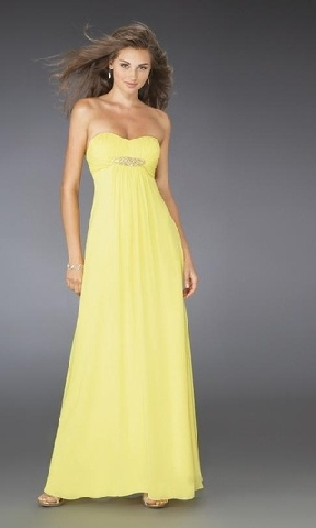 yellow strapless satin prom dress