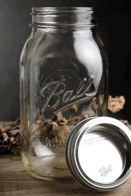 """Each mason jar is etched with the word Ball and comes with a metal lid and band. The order comes with 12. Jars measures 6-7/8"""" tall and 3-1/2"""" wide with a 2-3/8"""" opening."""