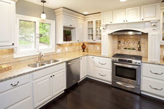 Cabinets by diamond door style crandall maple finish for Almond colored kitchen cabinets