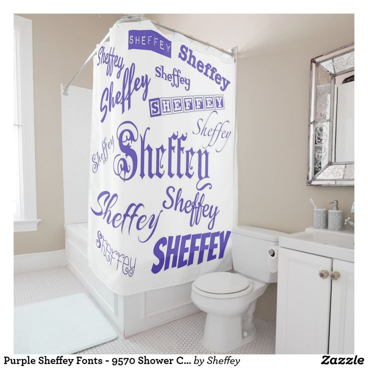Purple Sheffey Fonts - 9570 Shower Curtain