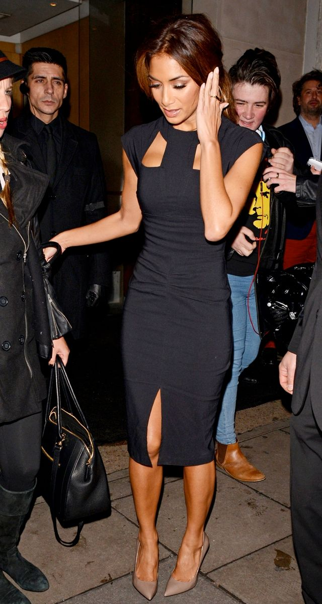 Nicole Scherzinger wearing The Pretty Dress Company the Cut-Out Black Dress Gianmarco Lorenzi Pearl Court Pumps