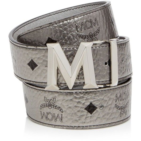 Mcm Belt - Color Visetos Metallic ($330) ❤ liked on Polyvore featuring accessories, belts, silver, mcm, metallic belt and mcm belt