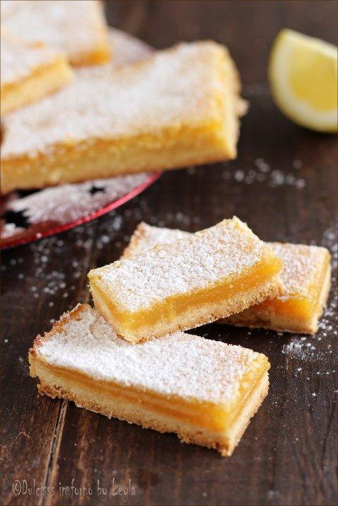 Crostatine al limone cremose o Lemon Bars Dulcisss in forno by Leyla