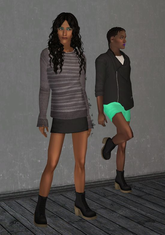 AM Category [theboldandthebeautifulsims] Sentate's Pond Skirt (with Amaryll's heeled boots)