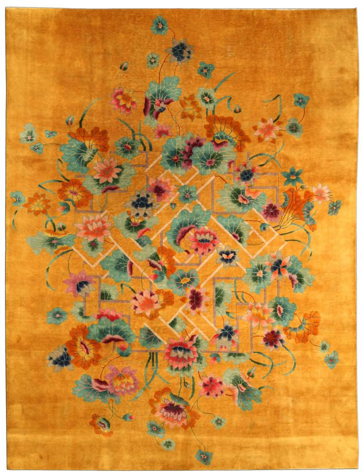 A Chinese Deco carpet BB4170 - A modern second quarter 20th century Chinese Art Deco carpet, the golden yellow field with a central linear ...
