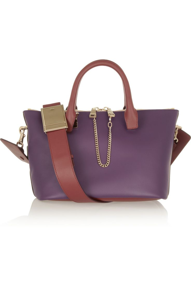 Chloé|Baylee small two-tone leather tote|NET-A-PORTER.COM