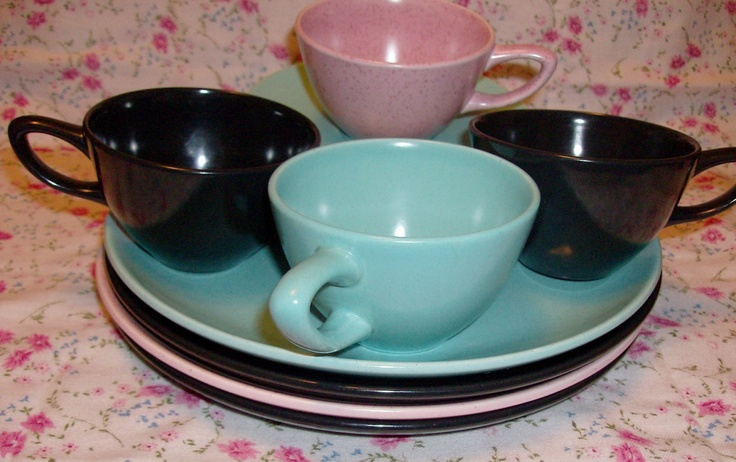 Divided Bowl W Handle 50s Turquoise Blue Monterey