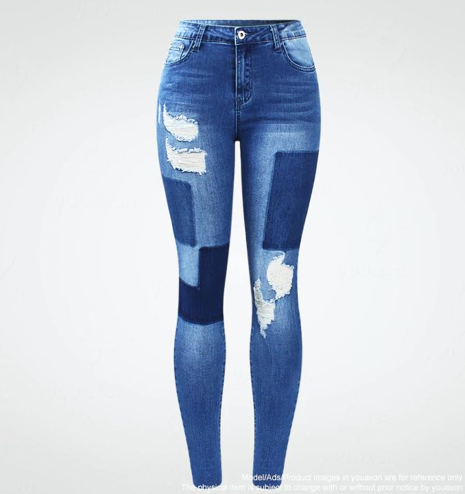 Jeans Womens Skinny Ripped 1