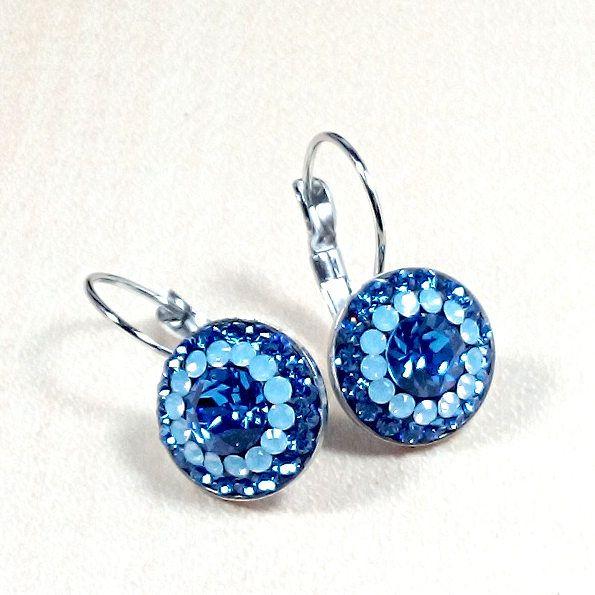14mm Swarovski Sapphire Steel lever back earrings - Surgical Steel Jewelry - french clip by SteelJewelryShop on Etsy