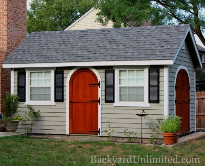 10x16 garden shed with lap siding rounded wood doors additional single door vinyl shutters 30x36 windows and gable vents pinterest vinyl shutters