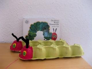Die kleine Raupe Nimmersatt aus Eierkartons