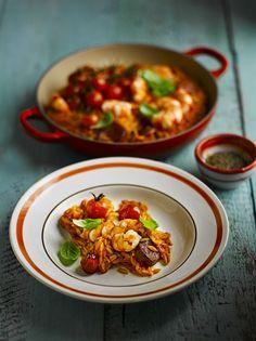 Prawn & chorizo orzo | Jamie Oliver