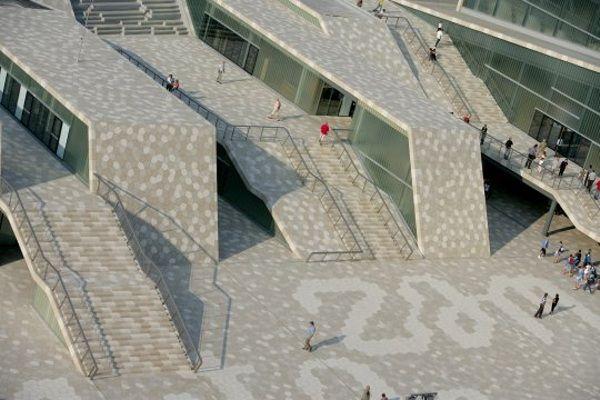 Studio 3lhd, croatian green building, green roof, community center, sports center, ceramic tile facade, open campus,