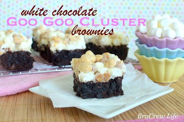 White Chocolate Goo Goo Cluster BrowniesWhite Chocolates, Cluster Brownies, Goo Cluster, Baking Recipe, Chocolates Goo, Goo Goo, Bar Cookies, Inside Brucrew, Brucrew Life