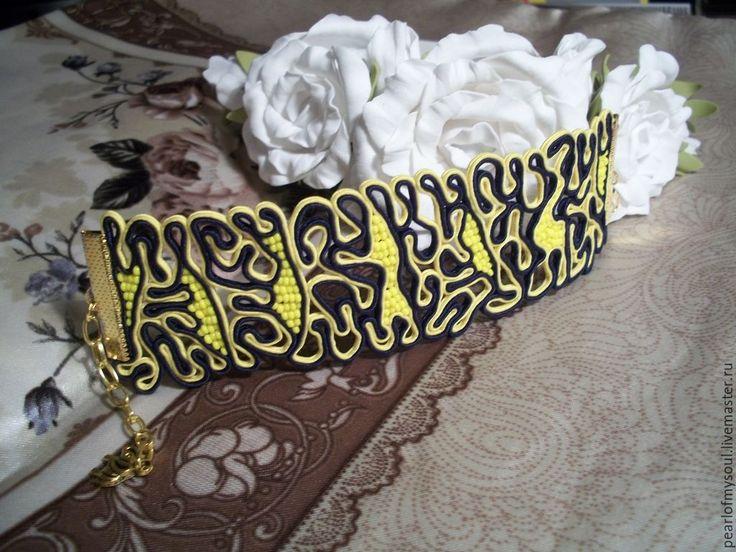 """Купить Браслет """"Радость"""" - разноцветный, ярко-желтый, сутажный браслет, сутажное украшение, сутаж"""