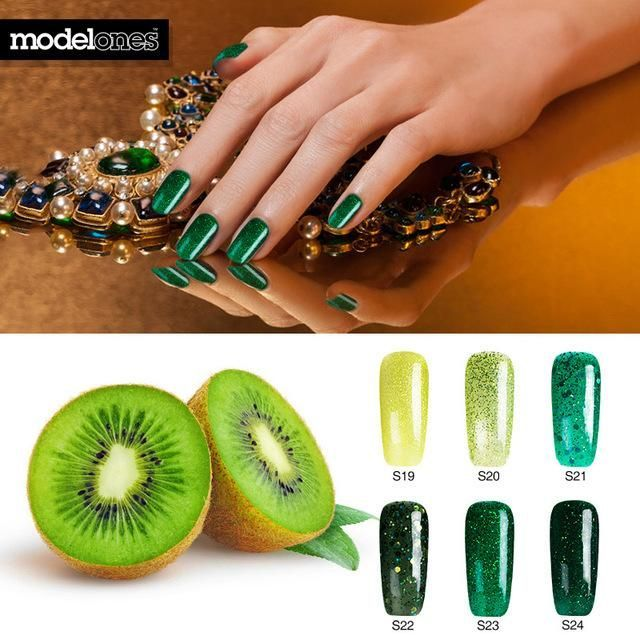 Dimonds Nails : Modelones 6Pcs/Lot Newest Red Color Series UV Nail Gel Polish Led Lamp Glitter N