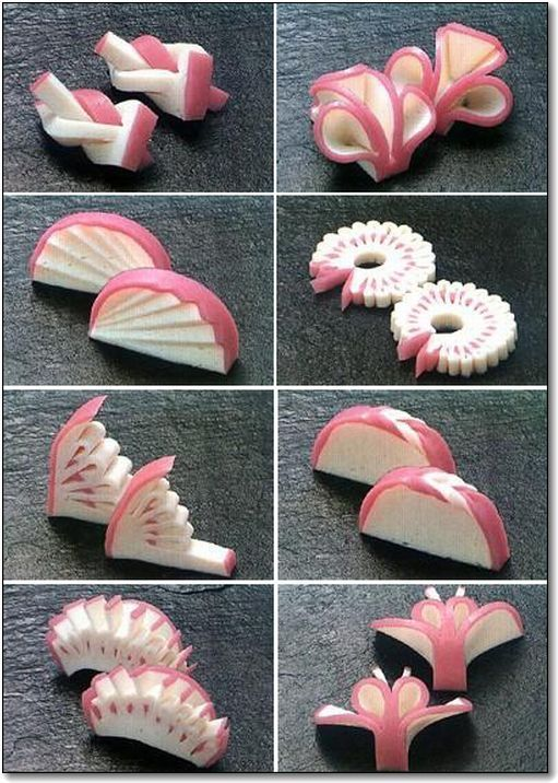 かまぼこの飾り切り / Decorative cut of kamaboko (Japanese steamed fish paste).
