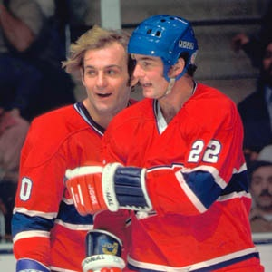 "Legendary Lines & Linemates - ""Lafleur (left) and Shutt (right) worked with Jacques Lemaire to form Montreal's top line through the 1970s"""