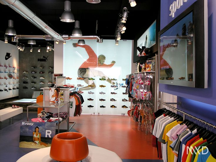 SPORTLIVE Porto de Mós . Portugal \ Interior Design \ 3D visualization \ MYD DESIGN STUDIO WWW.MYD.PT #designdeinteriores #shopdesign #designconcept #contemporary #designspaces #design #interiors #interiordesign #shop #design #sport #sportware #tenis #nike #puma #asics #vans #converse #element #casual #urban