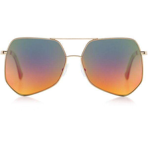 Grey Ant - Megalast sunglasses ($420) ❤ liked on Polyvore featuring accessories, eyewear, sunglasses, glasses, red glasses, gold aviator sunglasses, lens glasses, gold sunglasses and grey ant