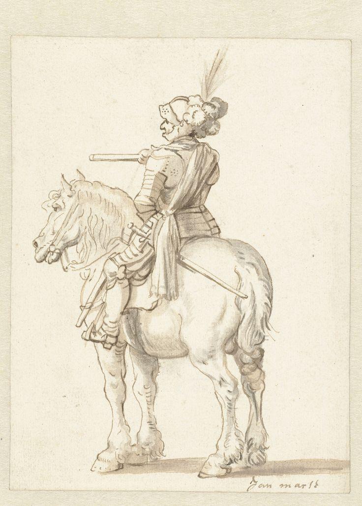 Ruiter in kuras te paard, half van achteren | Albrecht Dürer | 1620 - 1660 | Rijksmuseum | Public Domain Marked