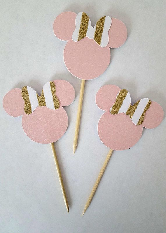 Check out this item in my Etsy shop https://www.etsy.com/listing/289172583/pink-and-gold-minnie-mouse-cupcake