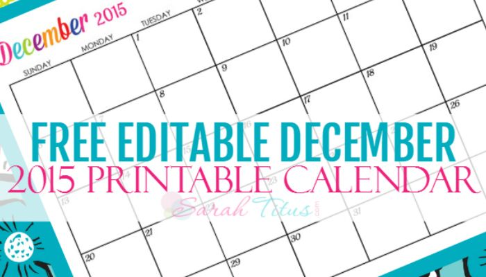 Free Blank Online Calendar December 2015 - Sarah Titus