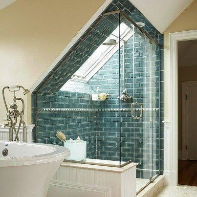 In love with this little bathroom. Imagine having a shower when it's raining! Bliss