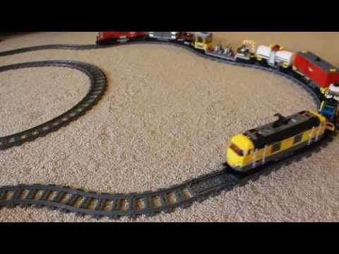 Lego Red and Yellow cargo trains running together  #Lego #Trains #LegoTrains #CoolToys #Toys #Red #Yellow #3677 #7939
