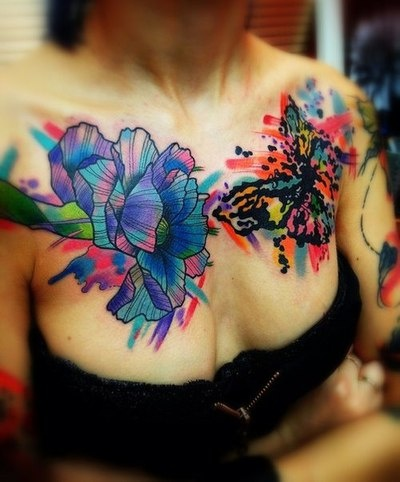 Chest tattoos flower butterfly tattoos pinterest for Color chest tattoos