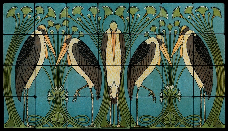 Image detail for 28x16 art nouveau cranes fine art tiles for Art nouveau tile mural