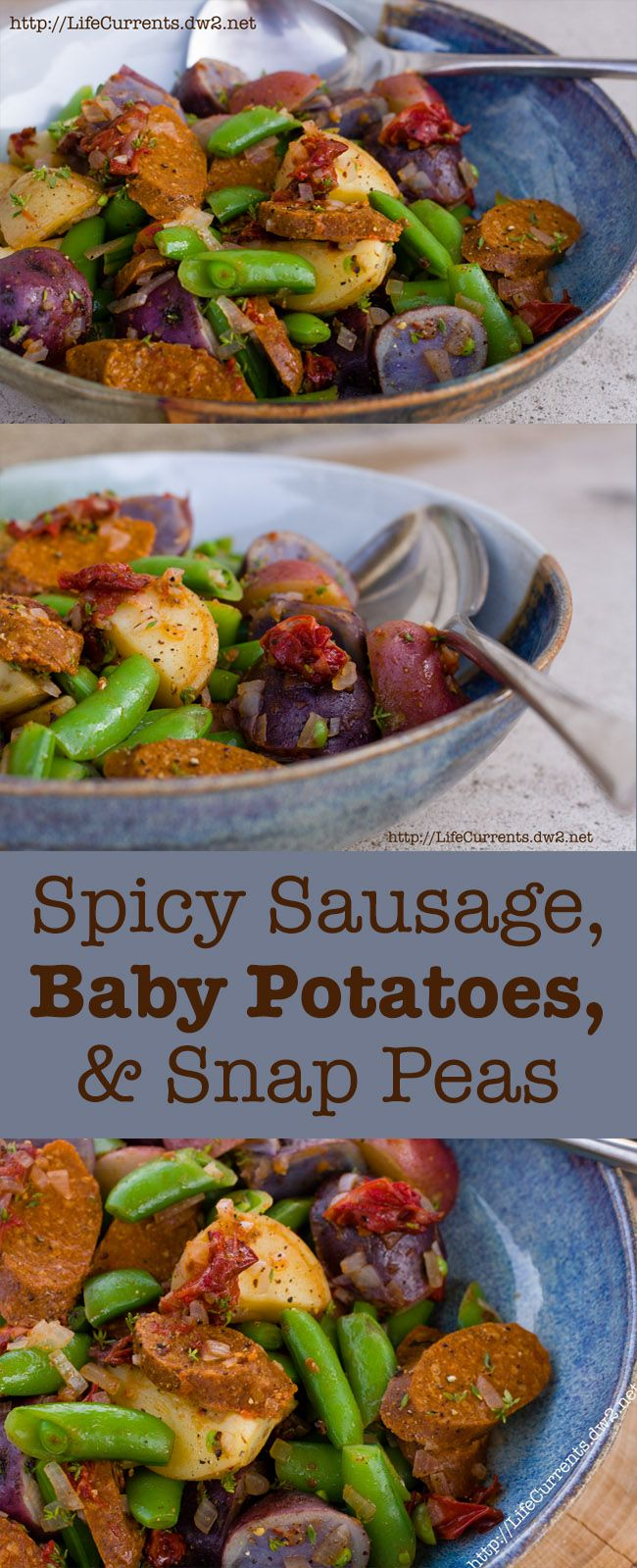 Make everyone in your family happy with this great dinner! Spicy Sausage, Baby Potatoes, and Snap Peas by Life Currents; you can use veggie sausage to make it vegan, or any kind of sausage that pleases you.