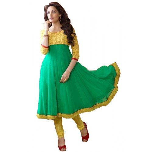 Latest Designer Yellow and Aqua Green Long Anarkali Dress
