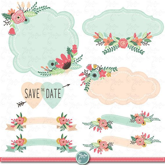 Wedding Clipart Design,Wedding Flora clipart,Vintage Flowers,Floral Frames,Digital frameWedding invitaion Wd008 Personal and Commercial Use.