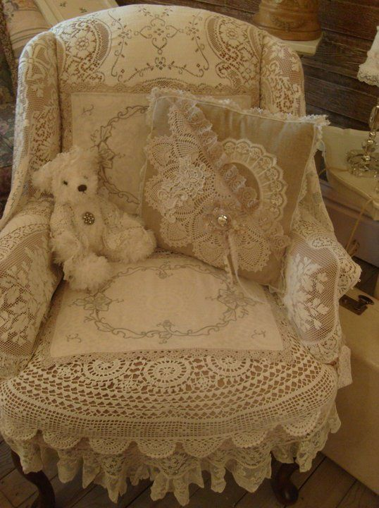 lacy chair - perfect for shabby chic bedroom to have an upholstered chair with lace trim, made cozy with teddy bear and lace applique pillow - vintage / cottage / shabby chic chair