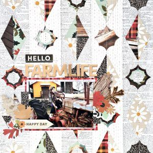 Hello Farmlife Geometric Shapes Scrapbooking Layout and Free Cut File by Heather Leopard