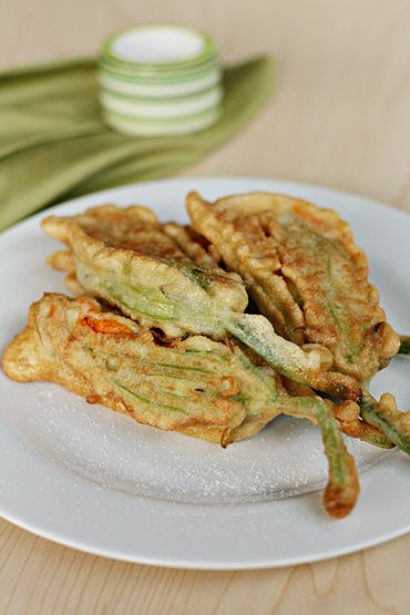 Pan-fried zucchini flowers with ricotta and garden herbs