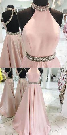 Pink Backless Beaded Prom Dress,Halter Prom Dress,Custom Made Evening Dress
