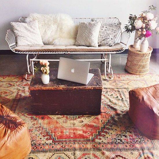 replace the laptop with a bottle of wine and a couple of glasses for the authentic Boho Living...