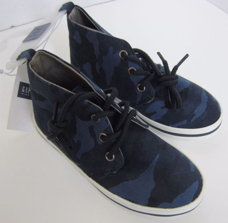 NWT Gap Kids Boys Canvas High Top Lace Up Sneaker Blue Camo Sizes 11 12 13 1 2 3 #GapKids #Athletic