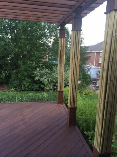 bamboo poles cover patio posts
