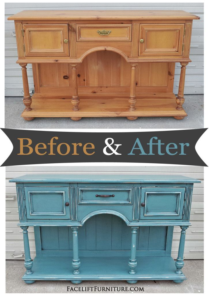 Buffet painted, glazed and distressed in Sea Blue and Black Glaze ~ Before and After from Facelift Furniture's DIY Blog