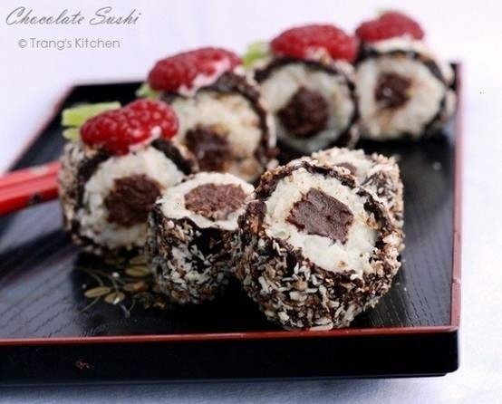 CHOCOLATE SUSHI! Looks delicious and cute, but mostly delicious.