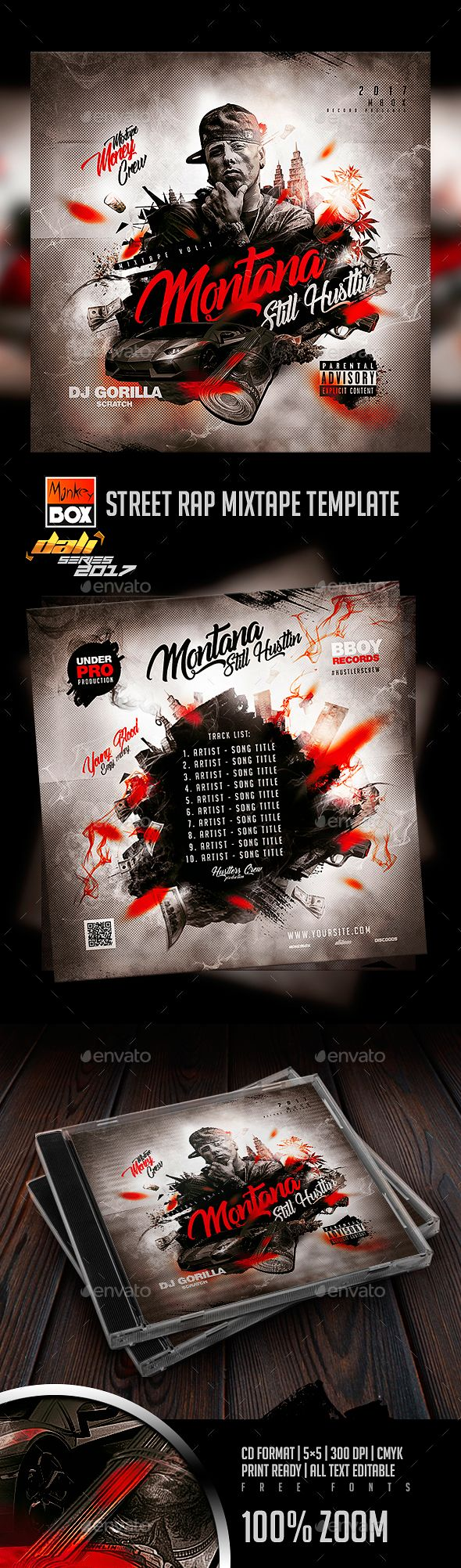 Street Rap Mixtape Template - #CD & DVD Artwork Print Templates
