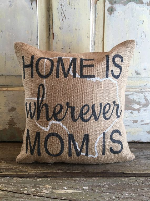 Burlap Pillow Home is Wherever Mom is pillow by TwoPeachesDesign