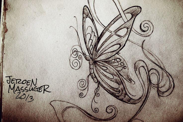Butterfly tattoo design drawing pencil art line jeroen